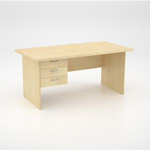 Eco Scene Desk with 3 Draw Pedestal Maple